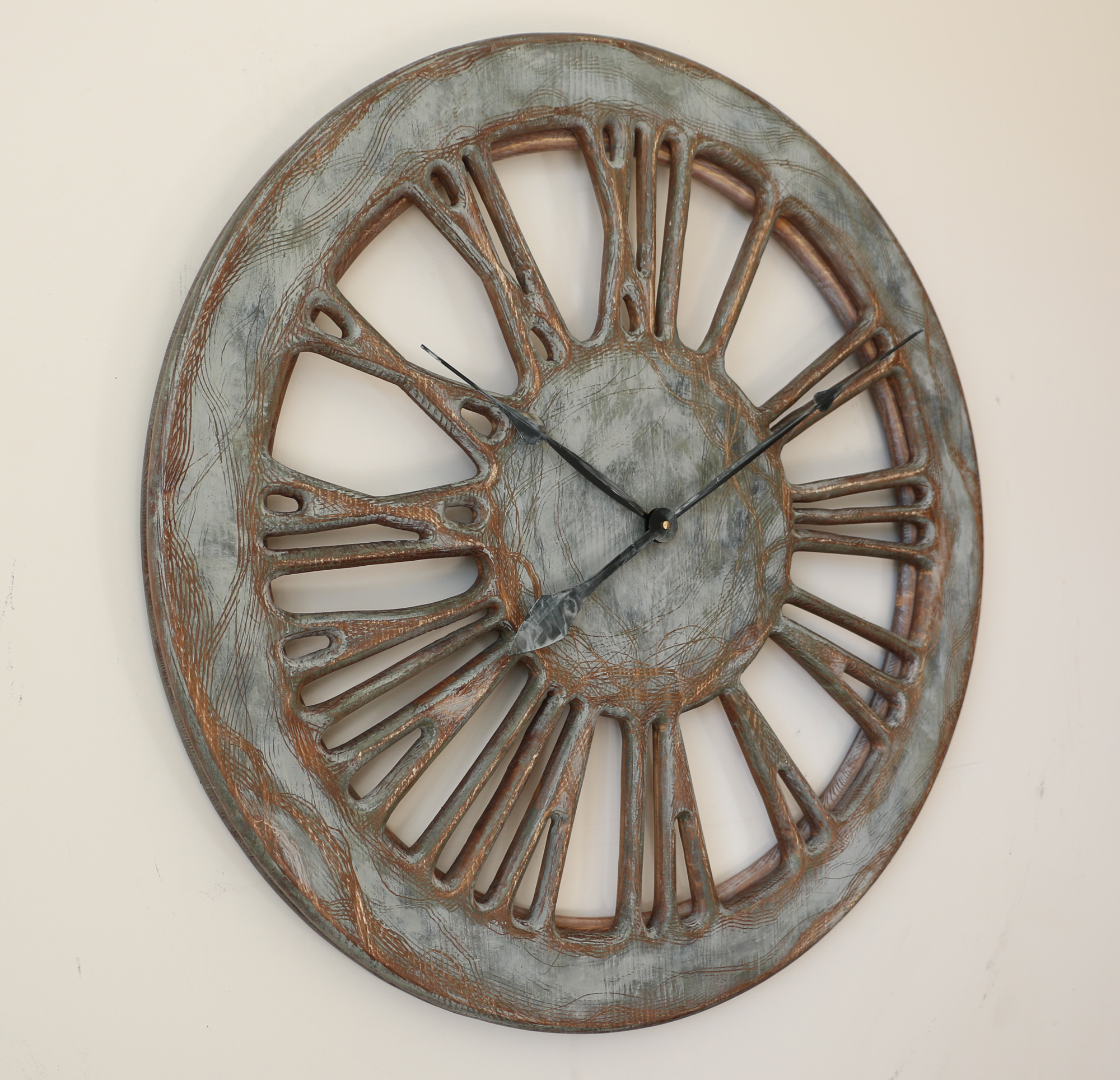 "40"" Large Contemporary Clock. Handmade from wood and hand ..."