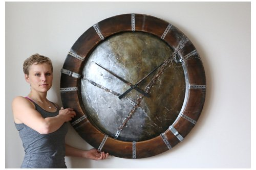 industrial wall clocks with metal elements