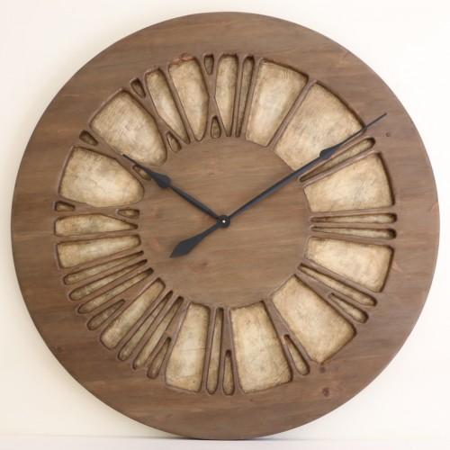 Schöne handgefertigte Hingucker-Wanduhr aus Holz für Ihre Lounge