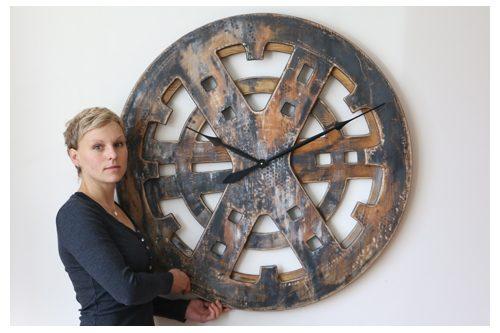 Wielki Drewniany Zegar Industrialny