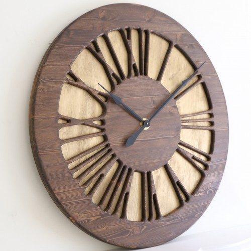 Zegar Rzymski Vintage z drewna
