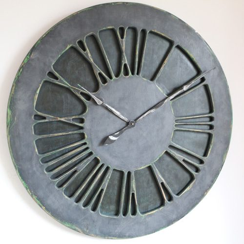 Denim Wall Clock with Roman Numerals