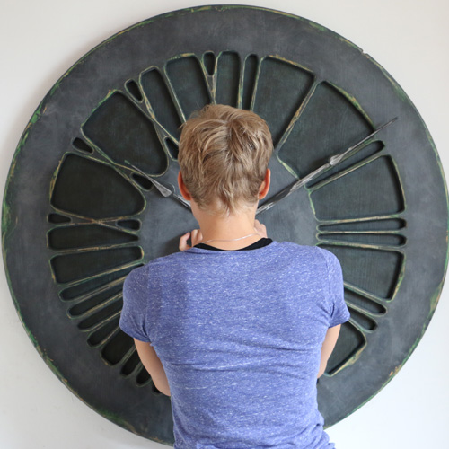 Denim Wall Clock in perspective