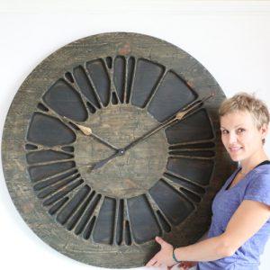 """Handmade 40"""" Roman Numeral Rustic Wall Clock - Wood"""