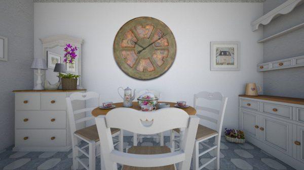 100 cm große, handgefertigte Designeruhr, inspiriert vom Hippie-Trend. Holz, runde Form, einzigartiges Design