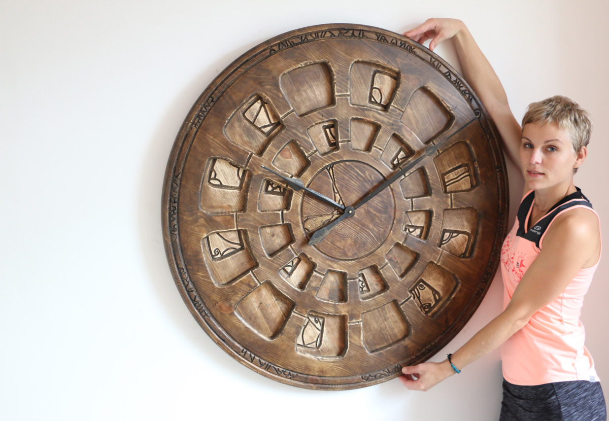 Large Designer Wall Clock. Handmade From Wood And Hand