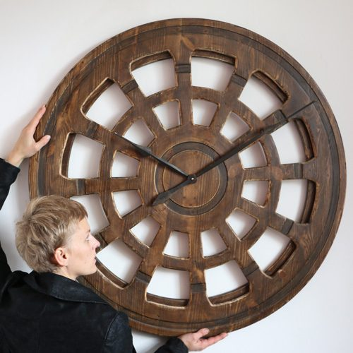 large wooden skeleton clock