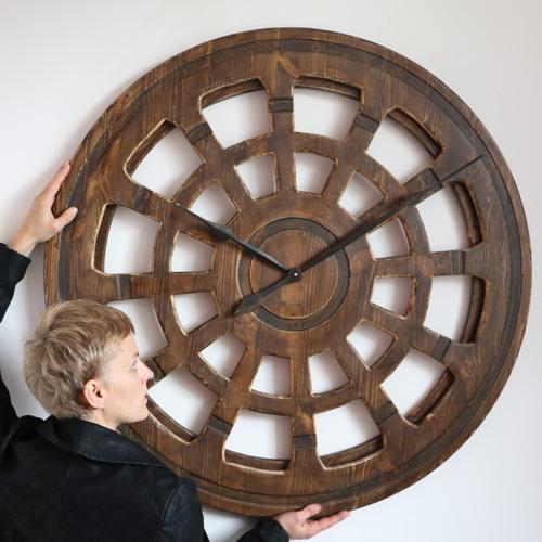 large wooden skeleton clock
