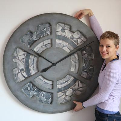 Bardzo duży ręcznie malowany Zegar ścienny. 100 cm Drewniana rama