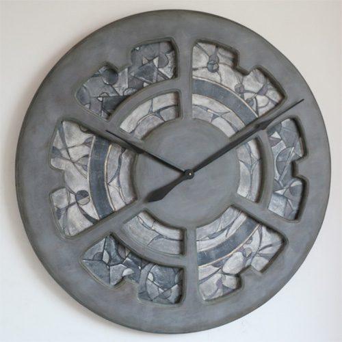 Large hand painted mosaic wall clock