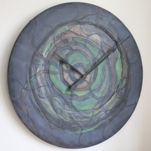 Massive Wooden Handmade and Hand Painted Wall Clock 100 cm. Ideal Statement Piece of Art.