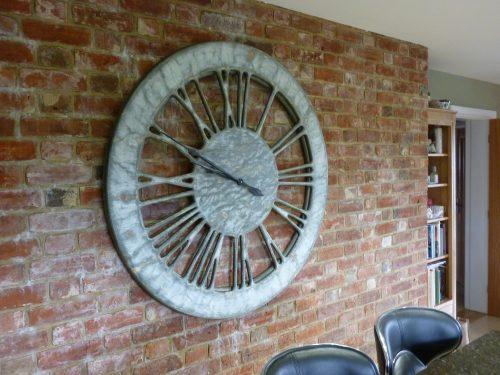 Wielki Biały Zegar Shabby Chic
