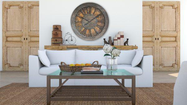 Schöne, extra große und dekorative Wanduhr. Ideal für eine rustikale Heimgestaltung.
