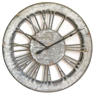 Große, schäbig-schicke weiße Skelett-Wanduhr - 100 cm, handgefertigt und handbemalt