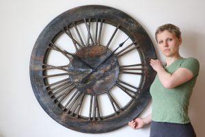Duży Zegar Nowoczesny z drewna