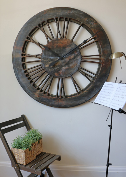 Extra Large Contemporary Handmade Wall Clock. Wood Skeleton Clock with Roman Numerals.