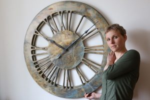 "Extra Large 40"" Handmade Contemporary Clock. Wooden Artistic Skeleton Clock"