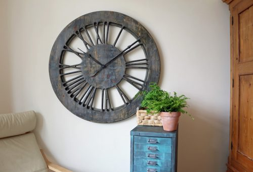 Large Shabby Chic French Skeleton Wall Clock with Roman Numerals