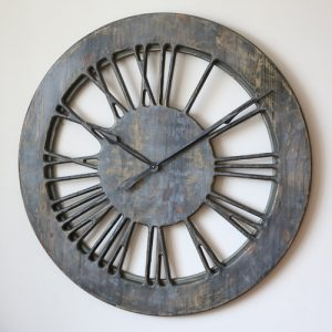 Shabby chic skeleton clock in grey