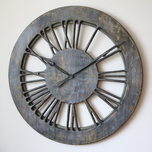 Shabby chic skeleton clock in grey