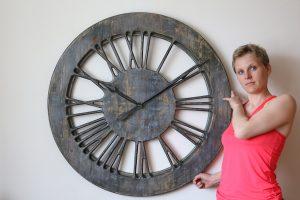 Grey Shabby Chic Skeleton Clock - handmade