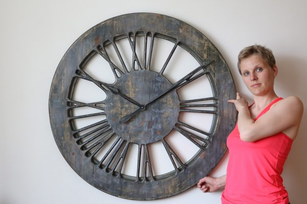 Grey Shabby Chic Skeleton Clock - handmade