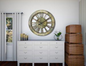 Very Large Modern Wall Clocks Home Decor. Handmade & Hand Painted, Wood 100 cm Roman Numerals Skeleton Clock