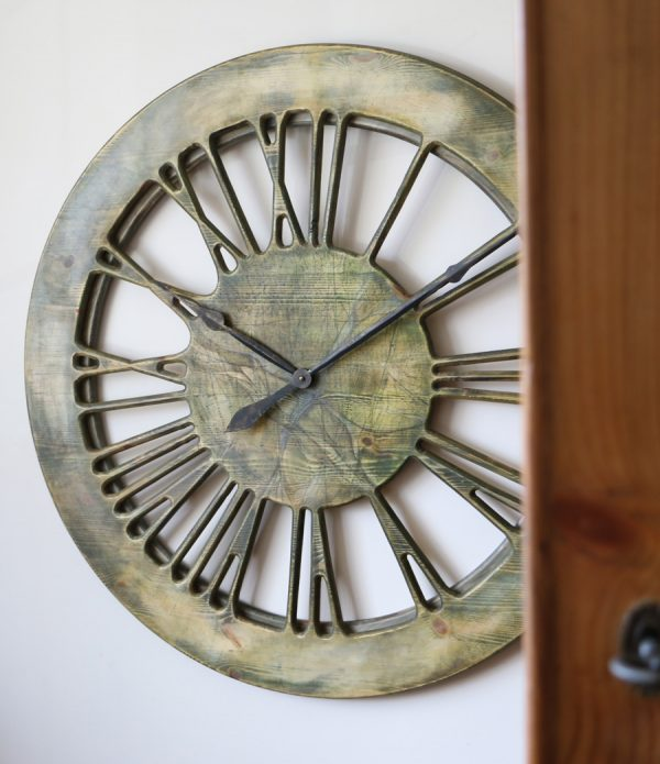 Very Large Modern Wall Clocks Home Decor. Handmade & Hand Painted Roman Numeral 100 cm Wooden Wall Clock.