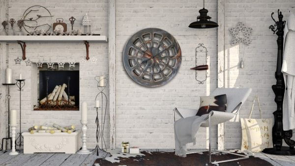 decorative clock for lounge on he brick wall