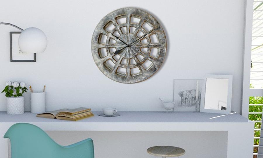 gro e graue handbemalte wanduhr f r die k che. Black Bedroom Furniture Sets. Home Design Ideas