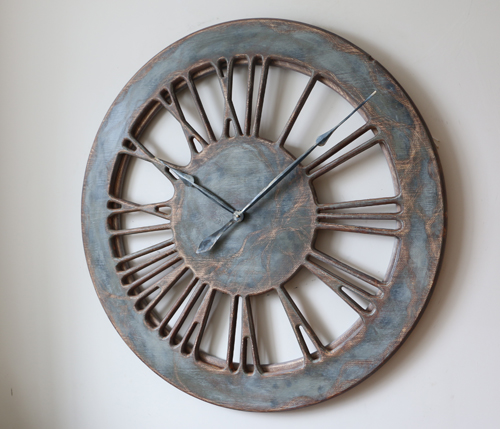 Rustic Oversized 100 cm Handmade & Hand Painted Eccentric Wall Clock Ideal for your living room or stylish kitchen.