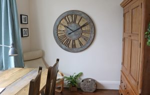 Classic Rustic Grey & Blue Roman Numeral Wall Clock at Extra Large Size of 100 cm.