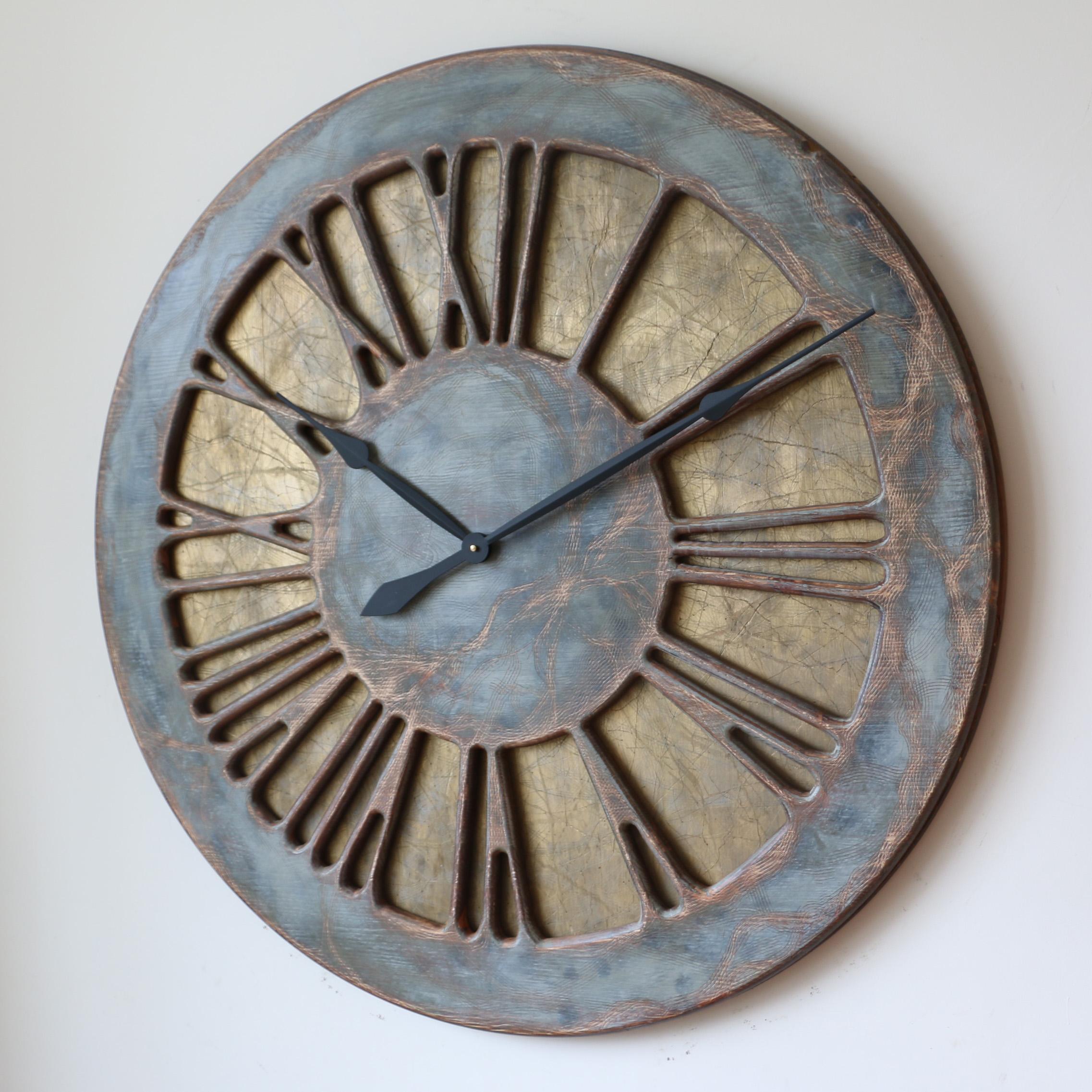 Duży Zegar Ścienny Do Salonu Ręcznie Wykonany Z Drewna