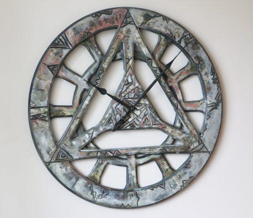 Bardzo Duży Ręcznie Robiony Drewniany Zegar Geometryczny
