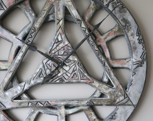 Bardzo Duży Ręcznie Robiony Drewniany Zegar Geometryczny - Powiększenie