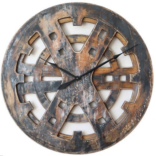 Drewniany Zegar Industrialny