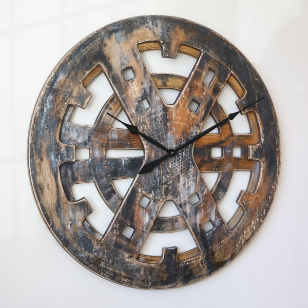 "40"" Industrial Looking Rusty Wall Clock Made from Wood"