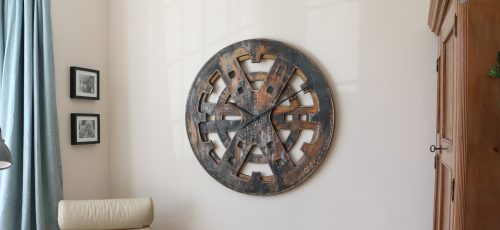 Round 100 cm Industrial Wall Clock with Rusty, Smoky and Black Look