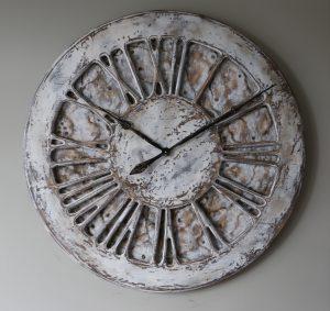 Ogromny Drewniany Zegar Na Ścianę w kolorze białym o średnicy 1 metra - Duże Cyfry Rzymskie