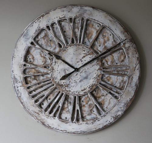 unique shabby chic clock on the grey wall