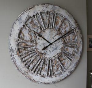 Wielki Biały Zegar Ścienny Shabby Chic Ręcznie wykonany z drewna o średnicy 100 cm