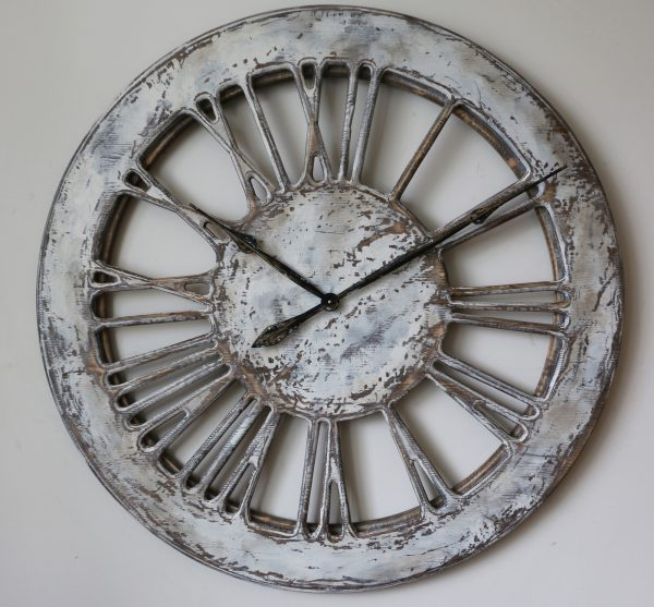 Massive Rustic White Skeleton Wall Clock - Front