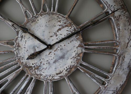 Oversized Rustic White Skeleton Wall Clock - Zoom