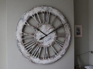 Unique Large Rustic White Skeleton Wall Clock - Left side
