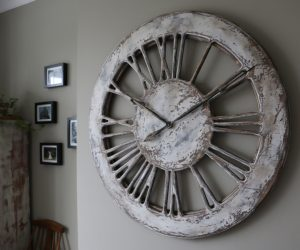 Massive Rustic White Skeleton Wall Clock- view from right