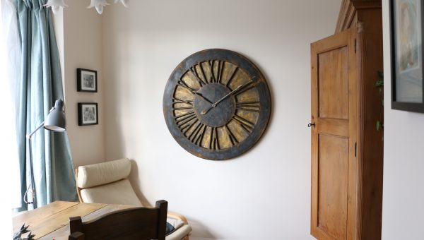 Large Rustic Handmade Roman Numeral Wooden Wall Clock - Rustic Gold & Graphite - Interiors