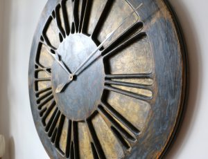 Large Rustic Handmade Wooden Wall Clock with Roman Numerals