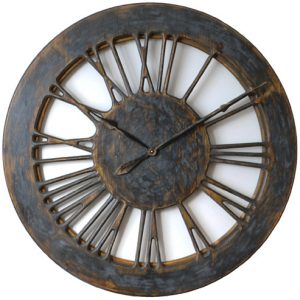 extra large skeleton wall clock made of wood