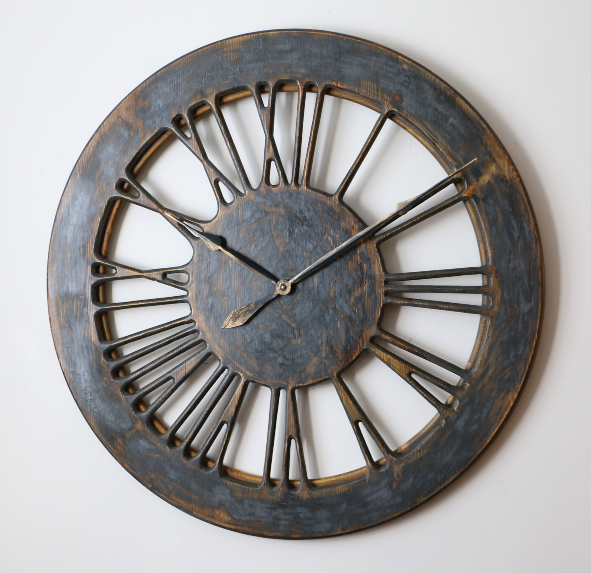 Extra Large Skeleton Wall Clock With Hand Carved Roman