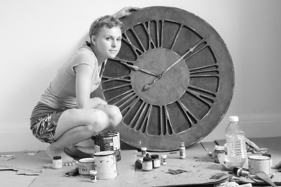 handmade clocks with artist black and white